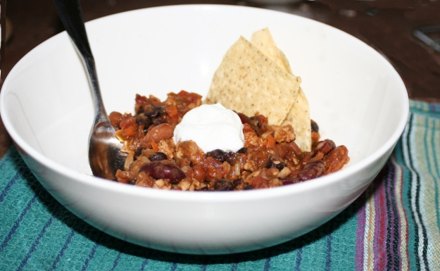Spicy Vegetarian 3 Bean Tempeh Chili