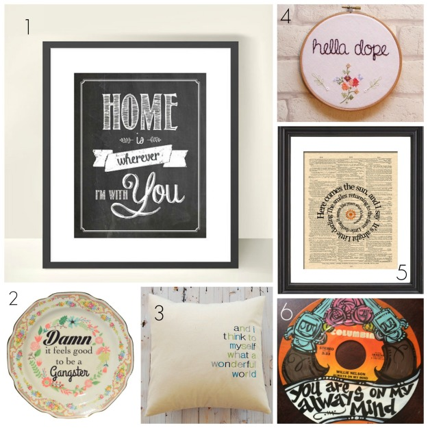 Etsy Song lyric collage