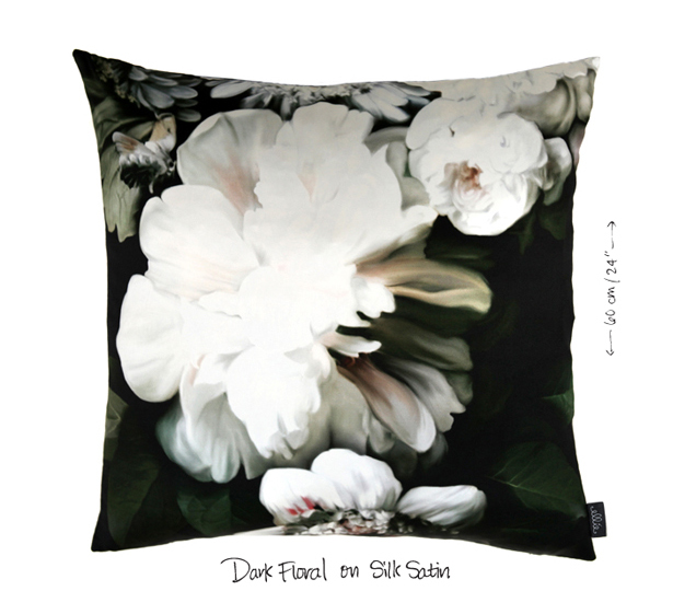 Dark floral throw pillow